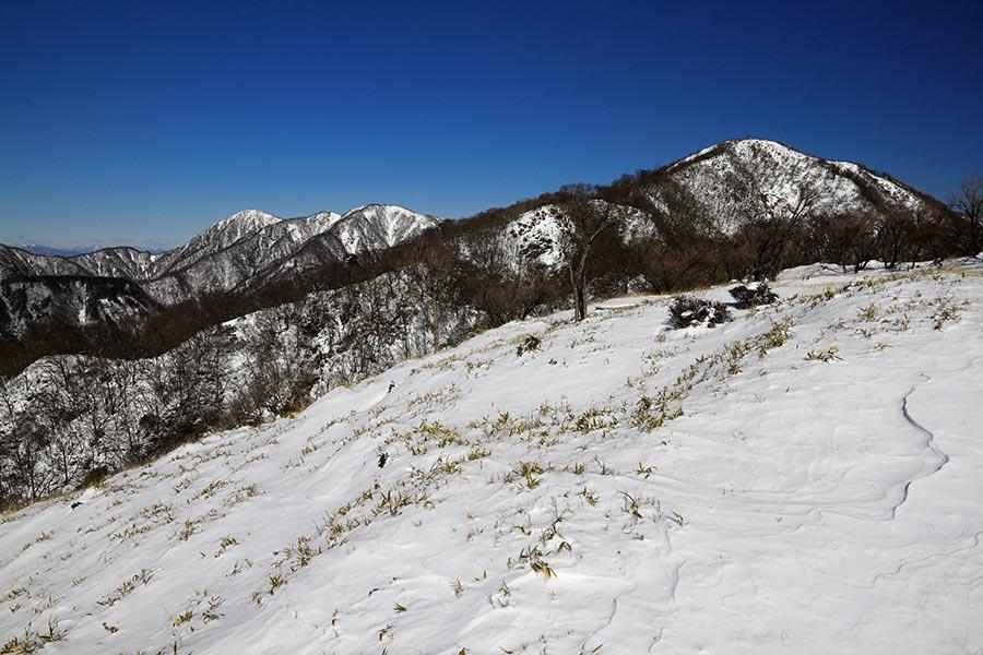 塔ノ岳と蛭ヶ岳方面の眺め